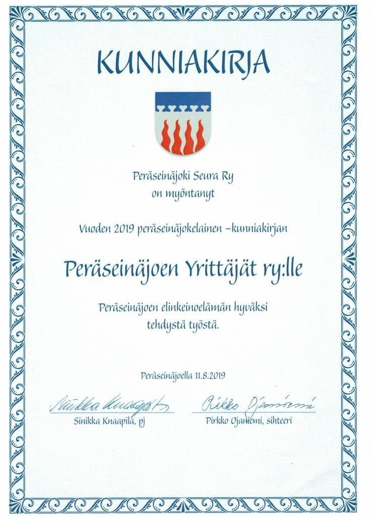 Tämän kuvan alt-attribuutti on tyhjä; Tiedoston nimi on Peräseinäjoki-seuran-kunniakirja-Peräseinäjoen-yrittäjät-Ry-lle-2019-738x1024.jpg